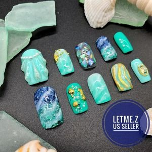 Press on Nails Glue On 3D Sea Marble Turquoise